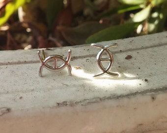 sterling silver H eye earrings