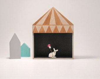 Kids room decor, circus box shelf, plywood childrens furniture, childrens  gift, golden, circus design
