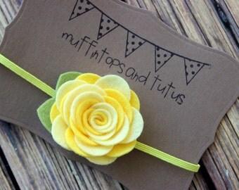 Yellow felt flower headband  - newborn/baby/toddler headband - flower headband - photo prop - spring headband