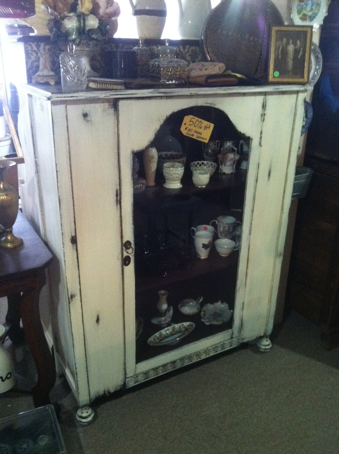 Shabby Chic Distressed White China Cabinet / Curio Cabinet