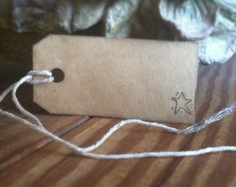 Rustic little star- hand stamped gift tags, set of 12