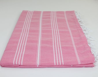 Beach Picnic Oversized Blanket, Beach Towel Blanket, Excellent Quality, 100% Turkish Cotton Pink