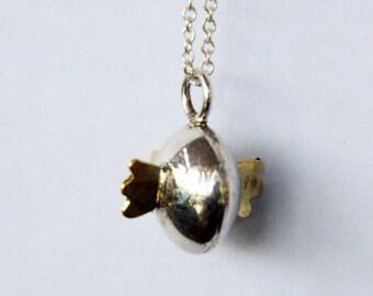 fish pendant, fish necklace, silver fish pendant,silver and brass pendant,silver necklace