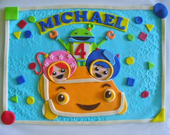 TEAM UMIZOOMI Milli Geo Bot Umicar Personalized Fondant Cake Topper Plaque 1/2 Sheet