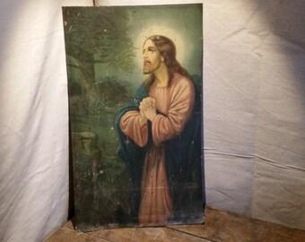 Print on Tin Jesus in Gethsemane  Vintage