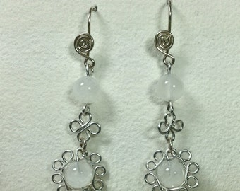 Moonstone earrings  moonflower