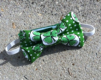 Bright Green St. Patrick's Day Bow Tie, St. Patrick's Day Hair Bow  - Shamrock bow, Kelly Green with Shamrocks- Baby, Toddler, Child, Adult