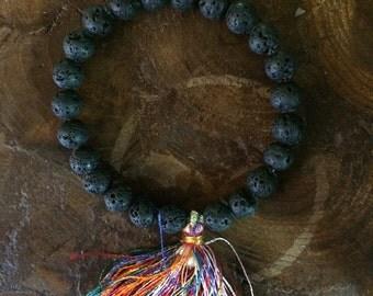 Black Lava Bead Bracelet w/ Rainbow Tassel