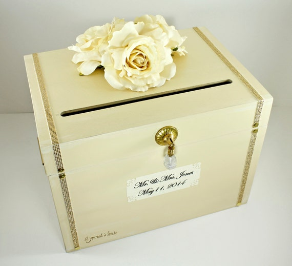 Vintage Wedding Gift Card Boxes : Ivory Gold Wooden Wedding Card Box Trunk. Vintage Shabby Chic Wedding ...