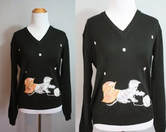 1970's Sweater // Embroidered Kittens // Large