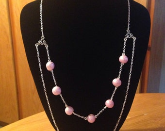 Pink Chain Polymer Clay Pearl Necklace