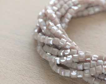 Electroplate Glass Beads - 50 pcs of Pearl Luster Plated Cube Glass Beads Loose Beads - 3 mm