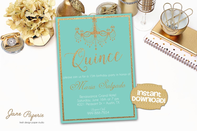 INSTANT DOWNLOAD Quinceanera Invitation Quinceaños Invite