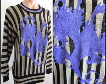 MONDI by ESCADA Vintage Sweater / Vintage Striped Sweater / Purple Embroidery / fits S to M