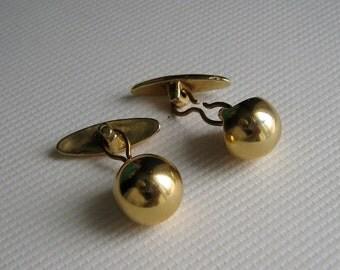 Elegant Mad Men Era Minimalist Goldtone Ball Cufflinks