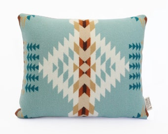 Geometric Wool Pillow // Echo Blue / cream  // Limited Edition
