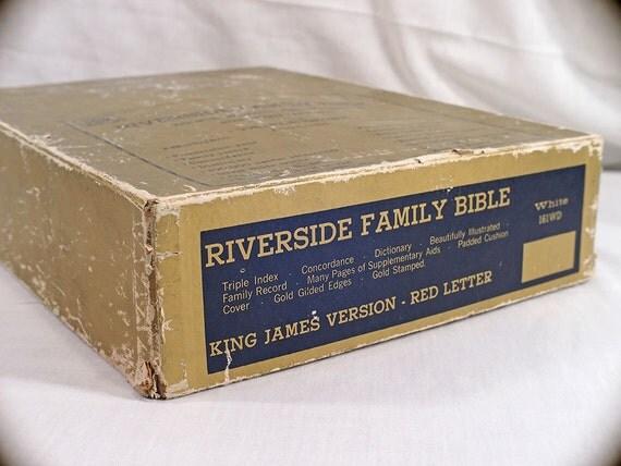 SALE Riverside Family Bible BOX Gold Vintage Box circa 70's Rare Book Slipcase White 161WD 1970's Religious Collectible Christian