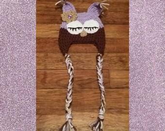 Sleepy Owl Crochet Newborn Hat