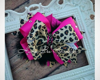 Hot Pink Lepord Print Hair Bow