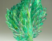 "Laurel Marie Hagner's Signature Woven Glass Art Sculpture, Abstract and Fluid, ""Fern Feather"""