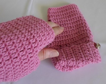 Pink Wool Texting Mitts Pink Wool Mitts Ladies Fingerless Gloves Ready to Ship