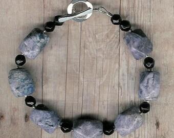 Bracelet - Sodalite, Black Agate, Sterling Silver