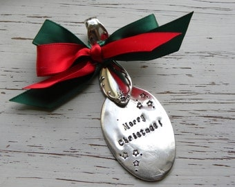 Merry Christmas hand stamped spoon ornament - your choice of colors - stars - silver plated - antique vintage - rustic re-purposed red green