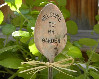Welcome to my garden plant marker spoon - hand stamped - garden pick - garden marker - re-purposed rustic spoon for planter - planter bed
