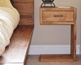 Beccar Rustic Wood Nightstand