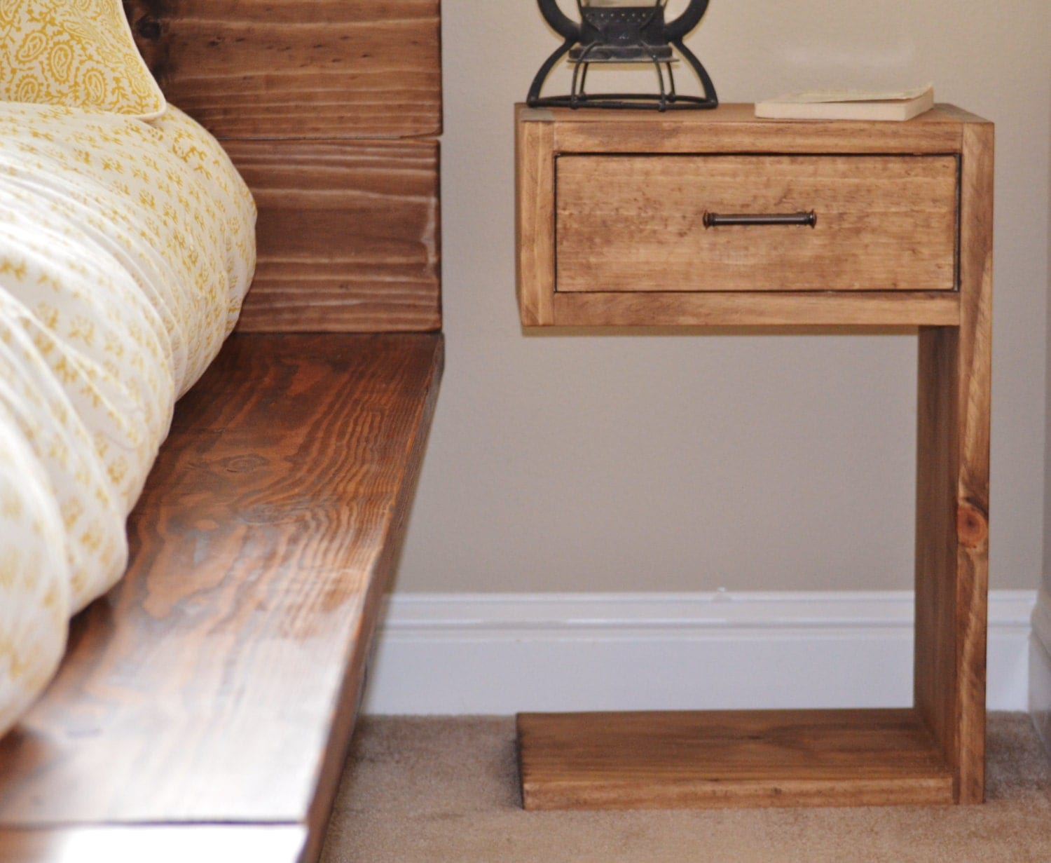 Beccar rustic wood nightstand for How to make a bed stand