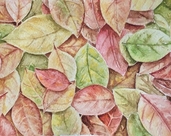 Autumn leaves watercolor painting original art,decorative art