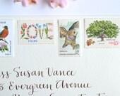 Rustic Vintage Wedding Love Stamp Suite for Mailing Wedding Invitations & RSVPs