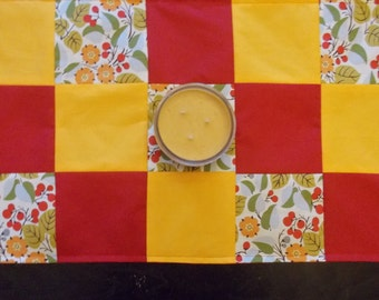 Table runner patchwork  approx 15 x 24 Red and goldenrod with flowers reversible.