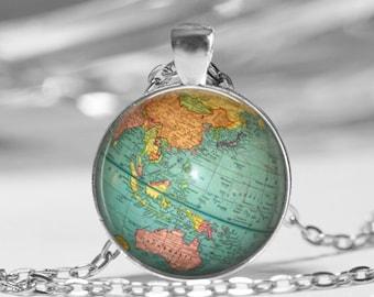 Desk Globe Photo Pendant Necklace or Key Chain Vintage Desk Globe Image Teacher Gift Graduation Gift