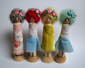 Peg doll greetings card, blank, for all occasions. Individually packaged, with envelope.