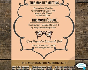 Literary Book Club Invitation - 5x7 - DIY - Print At Home - Book Club Invitation