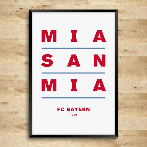 bayern munich mia san mia a3 typography print by dinkit on etsy. Black Bedroom Furniture Sets. Home Design Ideas