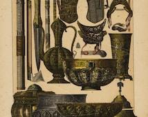 Antique Decorative Art Print Middle Ages Temps Modernes French print Russian Salavery Ornaments  -Russian Ornaments Original