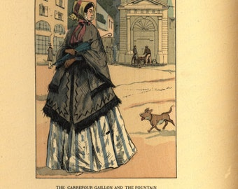 Antique Original Women French Costume Colored Lithograph Print -  The Carrefour Gaillon And The Fountain 1848