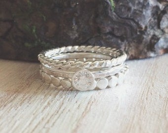 CZ + stacking set, sterling silver stacking rings, stacking set, cz stacking rings, beaded band, twisted band, thin band, stacking rings