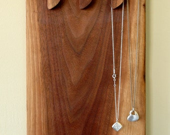 Wall mounted necklace holder and display made from solid walnut wood Made in Canada #3