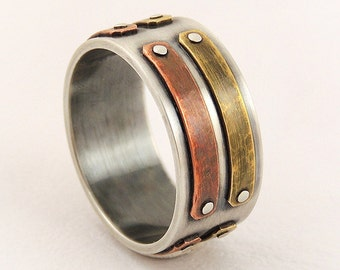 Unique silver mens ring - silver copper ring,mens wedding band,mens engagement ring,man ring