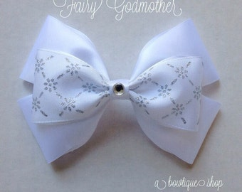 fairy godmother hair bow - white or blue (you choose)