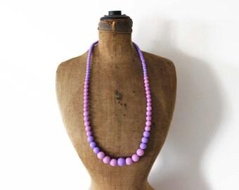 Vintage Purple Bead Necklace,  Long Purple Necklace, Purple Beaded Necklace