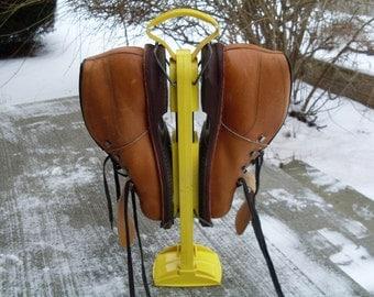 Vintage Norwegian Leather Ski Shoes With Bright Yellow Shoe Tree - Cross Country Boots, Kikut, Vibram, Reg Mark Cristallo, Allsop Shoe Tree