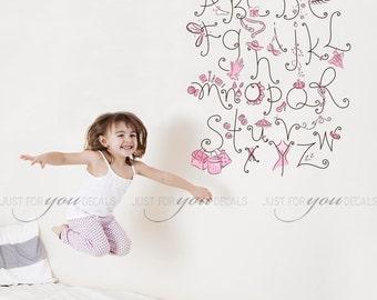 Alphabet Nursery Wall Decal - Teen Girl Wall Decal - Playroom Wall Decal - Girls Room Wall Decal - Wall Decal - Wall Stickers 01-0017