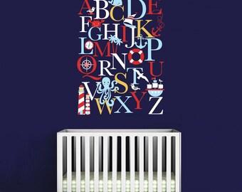Alphabet Wall Decal - Alphabet Decal - Nautical Nursery Wall Decals - Playroom Wall Decal - Play Room Wall Decal - Wall Sticker - 01-0035b