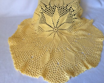 Lacey Round Baby Blanket, Sunny Yellow, Crochet Baby Blanket - READY TO SHIP