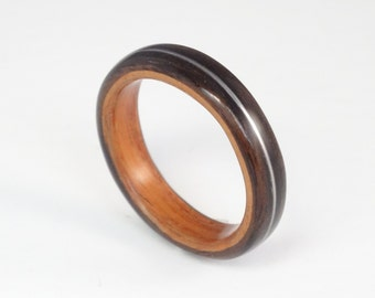 Wood Ring, Ebony & Padauk with Guitar String Inlay, Mens Wood Ring, Womens Wood Ring, Wood Engagement Ring, Wood Wedding Band, Wooden Ring