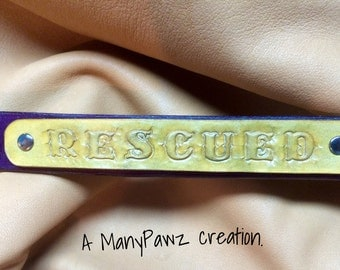 Leather Dog Collar:  RESCUED name plate.